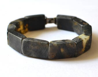 Genuine baltic amber bracelet, amber jewelry, dark amber bracelet, modern amber gift