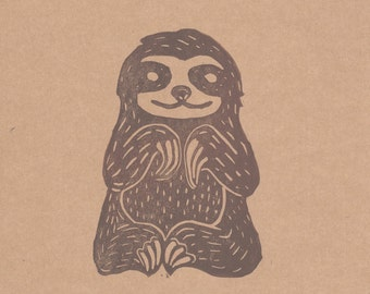 Smiley Sloth- Handcarved print