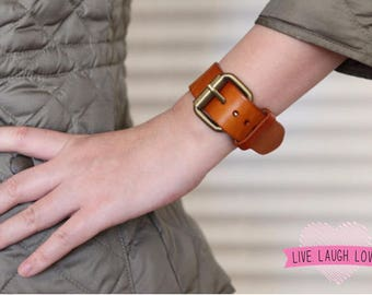 Genuine Leather Solid Cuff Buckled Buckle Heavy Wide Wrist Cover Belt Style Bracelet Big Bold Chunky  B003-PL