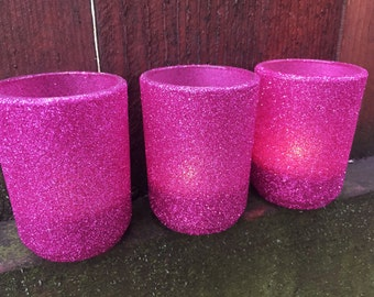 Hot pink glitter votive holders