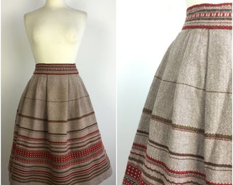 "Vintage 1940s Skirt - 40s European Wool Skirt - Fairisle - Pleated Skirt - UK 8 - Small - Waist 26""-"