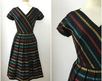 Vintage 1950s Pleated Dress - 50s Black Taffeta Striped Dress  - 50s Party Celebration dress - Medium - UK 14 / US 10 / EU 42 -