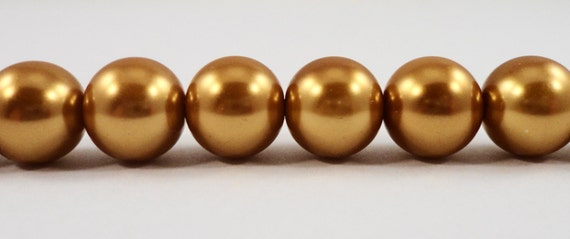 """10mm Glass Pearl Beads 10mm Round Dark Gold Glass Pearl Beads, Crystal Pearl Beads for Jewelry Making on a 7 1/2"""" Strand with 20 Beads"""
