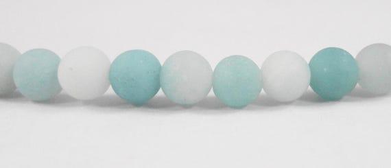 Blue Amazonite Beads 4mm Round Amazonite Beads, Frosted Amazonite Stone Beads, Small Matte Amazonite Gemstone Beads, 45 Loose Beads per Pack