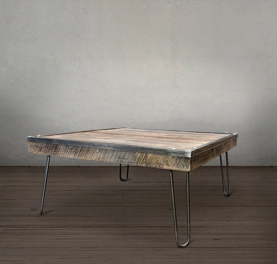 Reclaimed Wood Coffee Table, Smaller Square Steel Framed Table