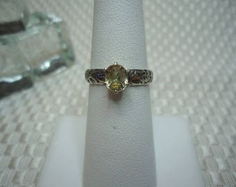 Oval Cut Yellow Ceylon Sapphire Ring in Sterling Silver  #1993