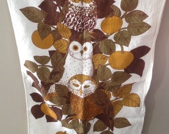 beautiful linen OWL tea towel by Pat Albeck