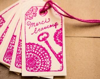 "Lot of 10 labels ""Many thanks"" handmade 5.5 cm x 3cm"