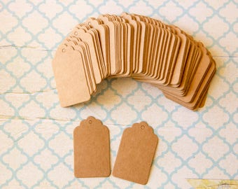 Gift tags paper kraft, labels kraft - lot of 100 for gifts, place markers, labeling 3cm x 5cm