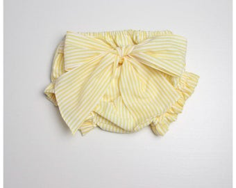 Striped Baby Bloomers, diaper covers, with front bow -  Available in various colors