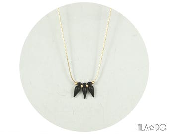 Spike necklace, gold and black || Geometric and rock modern necklace