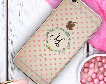 Pink clear Iphone 5 case with monogram, Floral Iphone 6s case transparent, Gift for her under 25, Clear iPhone case for women pretty (1418)