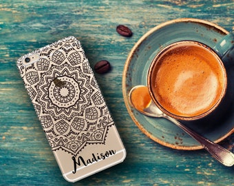 Mandala Iphone 8 clear case, iPhone 6 case transparent plastic, Mandala design in black, iPhone 7 case Personalized gifts For women  (1626)