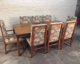 Founders Burled Wood Mid-Century Dining Table With 8-Chairs, 2-Extensions & Table Pads - SHIPPING NOT INCLUDED