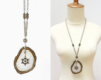 Large Agate Stone Slice Pendant Long Necklace with Smoky Quartz and Navigation Wheel Charm