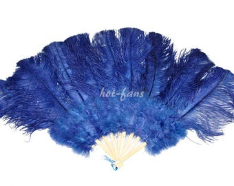"""24""""x 43"""" navy Marabou & Ostrich Feathers Hand Fan With Bamboo Staves Burlesque Dance"""