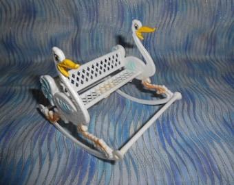Vintage Baby Shower Decoration-Stork Bench