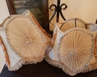 Antique Victorian Edwardian Silk Lampshades with Ribbon Work Trim