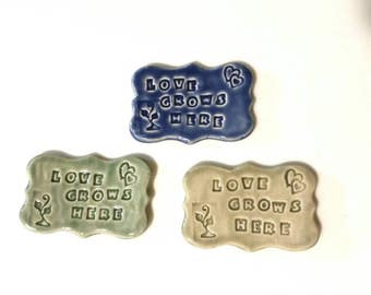 Love Grows Here, Inspirational  Quote, Ceramic Magnet, Fridge Magnet