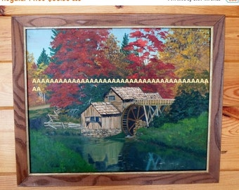 ON SALE Vintage L Pischel 1969 Oil or Acrilic Painting Landscape, Mill, Framed, Signed, Fall Colors, River,Art, Wall Hanging, Green, Trees