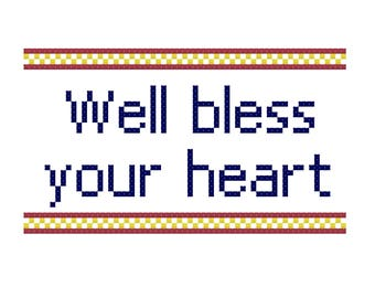 Bless Your Heart Cross Stitch Pattern, Digital Download PDF