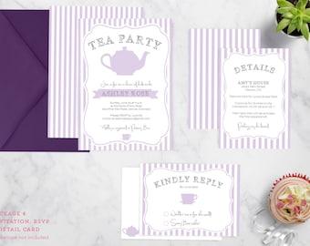 Vintage Tea Party Invitation Suite - Birthday, Bridal Shower, Baby Shower