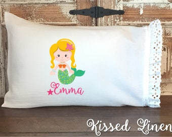 Personalized Mermaid on White Toddler Travel Pillowcase Soft 100% Cotton Flour Sack Fabric Eyelet Lace Ruffles Little Girl Shabby Bedding