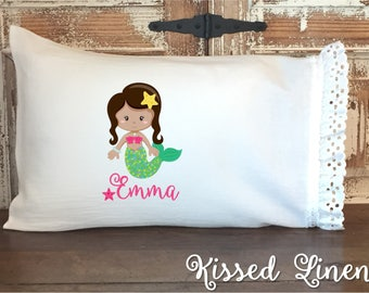 Personalized African American Mermaid White Toddler Travel Pillowcase Soft 100% Cotton Flour Sack Fabric Eyelet Ruffles Little Girl Bedding