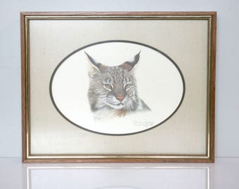 Vintage Framed Cat Drawing Lithograph 1981