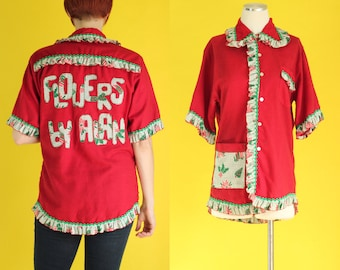 Vintage 70s Ugly Christmas Shirt - Christmas Holly Poinsettia Short Sleeve Blouse - Holiday Tops - Red Tacky Christmas Sweater - Size Large