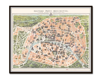 Vintage Paris Map 1900, Giclee, Print, Antique Map Print, Map Art, Antique Paris Map, French Decor, Map, Paris, Paris Map, Illustration