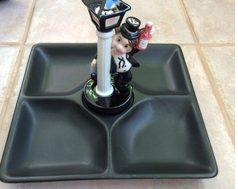 Vintage Barware Drunk on Pole Divided Tray