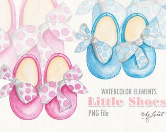 Little Shoes - watercolor - digital clipart - for photography, personal use and small business project