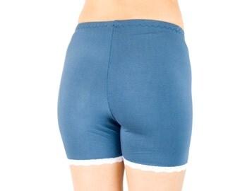 Blue Tap Pants Organic Bamboo Anti Chafe Shorts Soft Pajama Bottoms