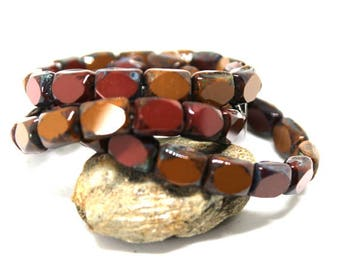 15 Rectangle Table Cut Brick Red and Caramel Picasso Czech Beads