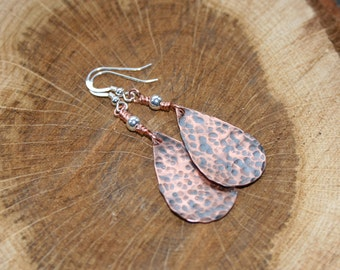 Copper Sterling Silver Drop Earrings Hammered forged Textured Copper Drop Dangle Rustic Artisan Handmade  Ear Wires Beads Natural Jewellery