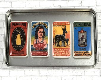 Magnet Set Vintage Matchbox Magnets Domino Magnets Gift Set Repurposed Accessories Refrigerator Magnets Home Decor