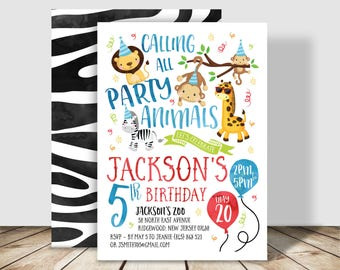 Calling all Party Animals, Zoo Birthday Party Invitation - 5x7 double sided - Wild One Animal Party