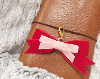 Red and pink velvet bow charm