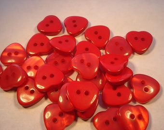 15mm Red Resin Heart Shape Buttons, 2-hole Red Heart Buttons, Pack of 12 Red Heart Buttons H1501
