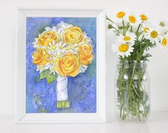 Custom Wedding Painting - Original Watercolor Portrait - Custom Floral Bouquet Painting - First Anniversary Gift Paper