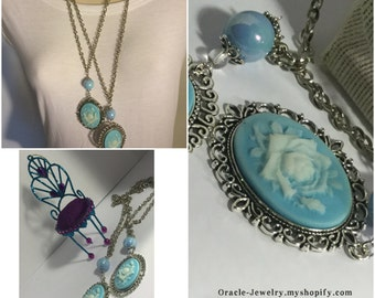 Blue Vintage Rose Cameo/Free Shipping