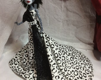 Black and White Leopard Print Gown with Pearl Like Accents for your Monster High Doll - Monster High Doll Handmade Clothing