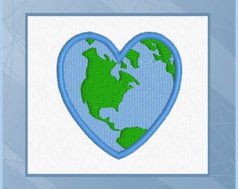 Heart-Shaped Earth - Earth - World -  Machine Embroidery Design