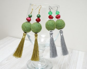 Christmas tassel Earrings from felt balls and acrylic beads green red white ball dangle teen gift  handmade extra long silver gold tone tree
