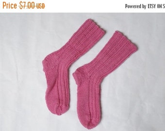 BLACK FRIDAY SALE Children kid Socks hand knitted Leg warmers Stockings size 2 3.5 pink handmade rustic wool ready to ship girl teen kid