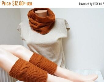 ON SALE Cowl and boot cuffs wool knit knitted Infinity Loop Shawl scarf circular neckwarmer handmade neck warmer braided burnt orange maroon