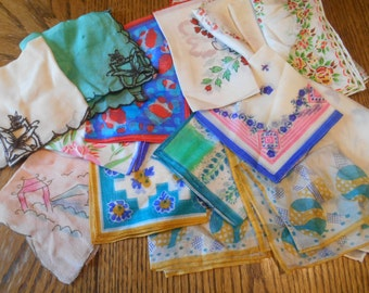 Lot of 15 silk / silky handkerchiefs / hankies