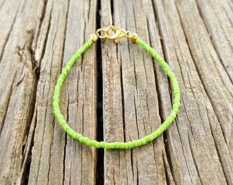 green bracelet beach surfing vacation beach holiday zesty lime seed beads