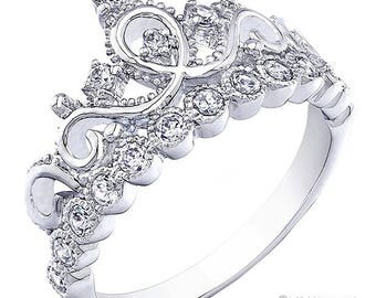 Rhodium-plated 925 Sterling Silver Crown Ring / Princess Ring - AZDBR5456DZ